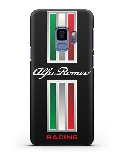 Чехол с логотипом Альфа Ромео силикон черный для Samsung Galaxy S9 [SM-G960F]