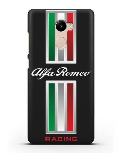 Чехол с логотипом Альфа Ромео силикон черный для Xiaomi Redmi 4