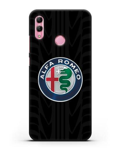 Чехол с эмблемой Alfa Romeo с протектором шин силикон черный для Honor 10 Lite