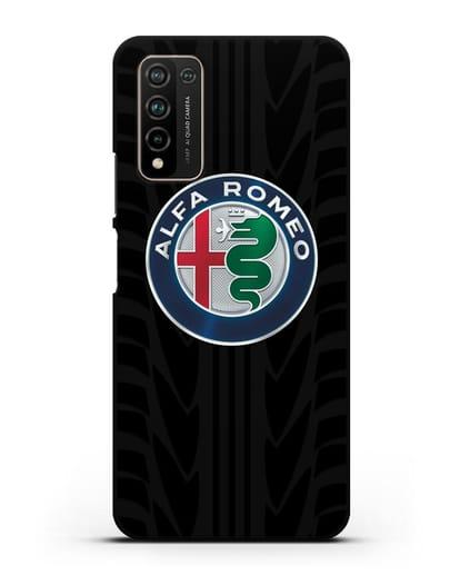 Чехол с эмблемой Alfa Romeo с протектором шин силикон черный для Honor 10X Lite