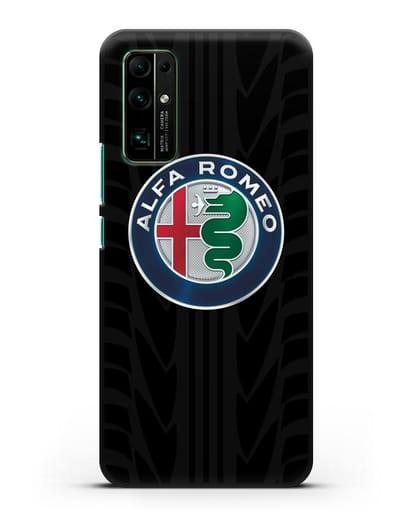 Чехол с эмблемой Alfa Romeo с протектором шин силикон черный для Honor 30