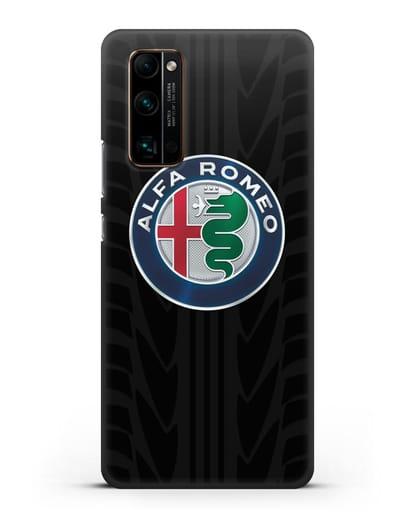 Чехол с эмблемой Alfa Romeo с протектором шин силикон черный для Honor 30 Pro Plus