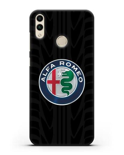 Чехол с эмблемой Alfa Romeo с протектором шин силикон черный для Honor 8C