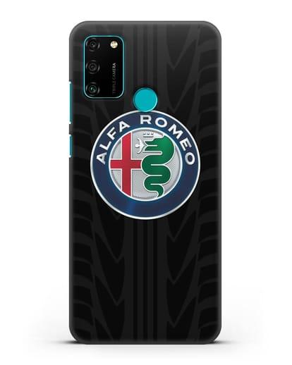 Чехол с эмблемой Alfa Romeo с протектором шин силикон черный для Honor 9A