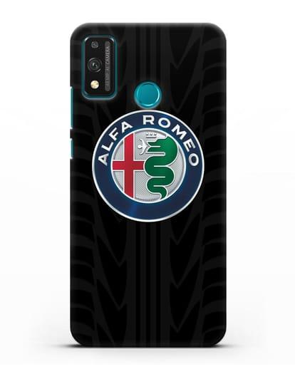 Чехол с эмблемой Alfa Romeo с протектором шин силикон черный для Honor 9X lite
