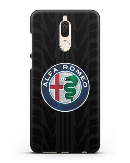 Чехол с эмблемой Alfa Romeo с протектором шин силикон черный для Huawei Mate 10 Lite