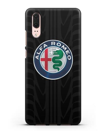 Чехол с эмблемой Alfa Romeo с протектором шин силикон черный для Huawei P20