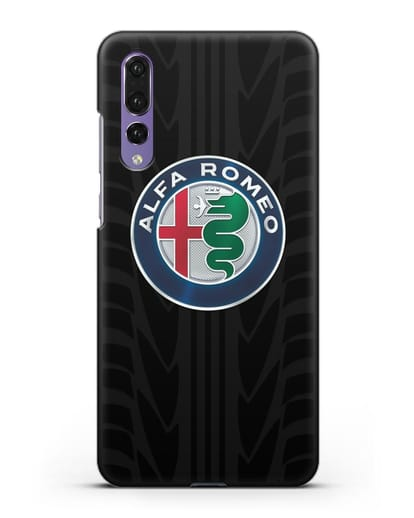 Чехол с эмблемой Alfa Romeo с протектором шин силикон черный для Huawei P20 Pro