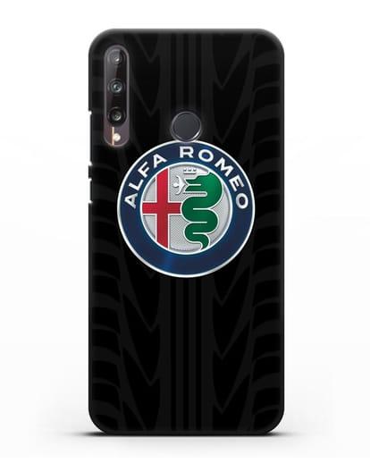 Чехол с эмблемой Alfa Romeo с протектором шин силикон черный для Huawei P40 lite E