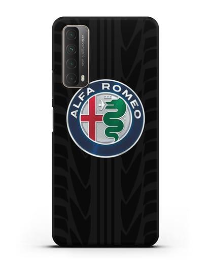 Чехол с эмблемой Alfa Romeo с протектором шин силикон черный для Huawei P Smart 2021