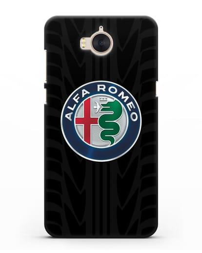 Чехол с эмблемой Alfa Romeo с протектором шин силикон черный для Huawei Y5 2017