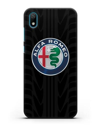 Чехол с эмблемой Alfa Romeo с протектором шин силикон черный для Huawei Y5 2019