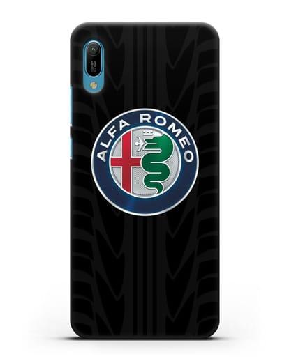 Чехол с эмблемой Alfa Romeo с протектором шин силикон черный для Huawei Y6 2019