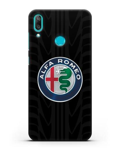 Чехол с эмблемой Alfa Romeo с протектором шин силикон черный для Huawei Y7 2019