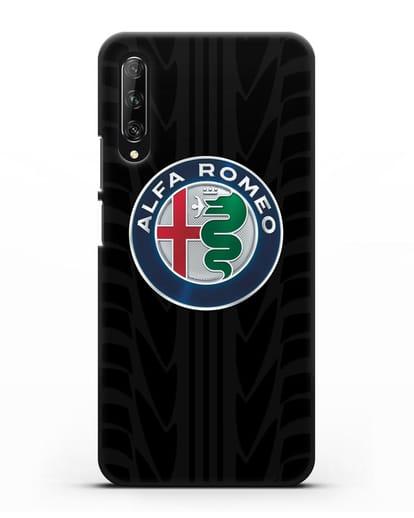 Чехол с эмблемой Alfa Romeo с протектором шин силикон черный для Huawei Y9s