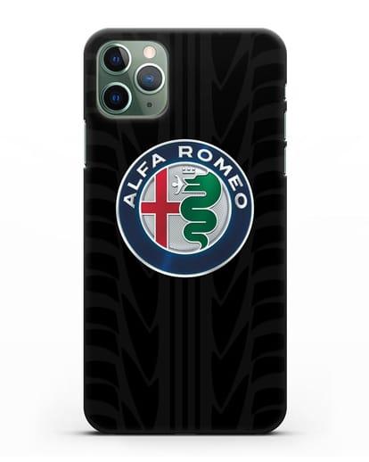Чехол с эмблемой Alfa Romeo с протектором шин силикон черный для iPhone 11 Pro