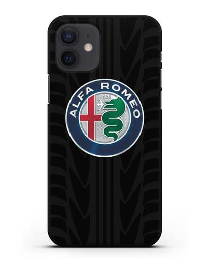 Чехол с эмблемой Alfa Romeo с протектором шин силикон черный для iPhone 12