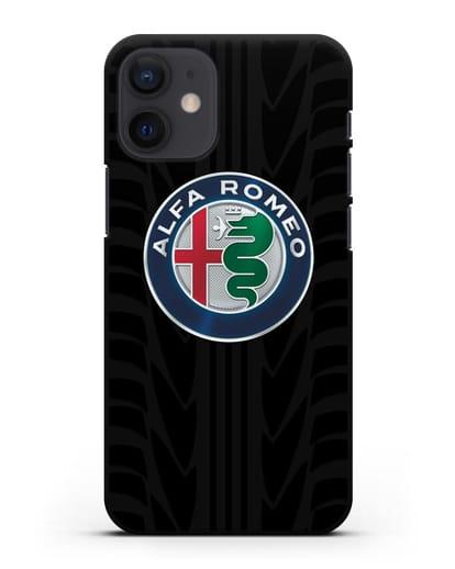 Чехол с эмблемой Alfa Romeo с протектором шин силикон черный для iPhone 12 mini