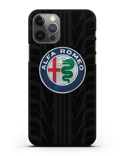 Чехол с эмблемой Alfa Romeo с протектором шин силикон черный для iPhone 12 Pro