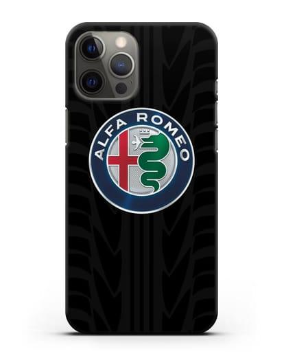 Чехол с эмблемой Alfa Romeo с протектором шин силикон черный для iPhone 12 Pro Max