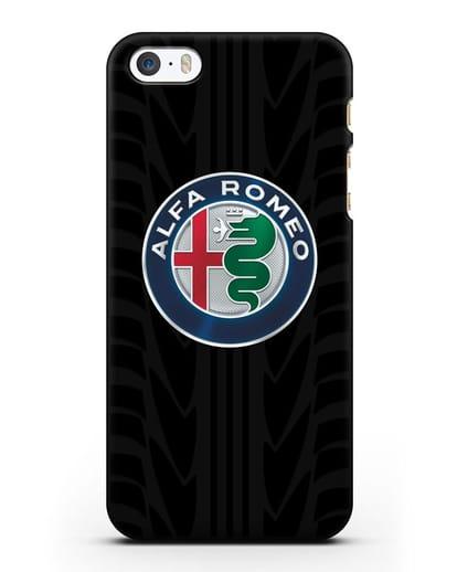Чехол с эмблемой Alfa Romeo с протектором шин силикон черный для iPhone 5/5s/SE
