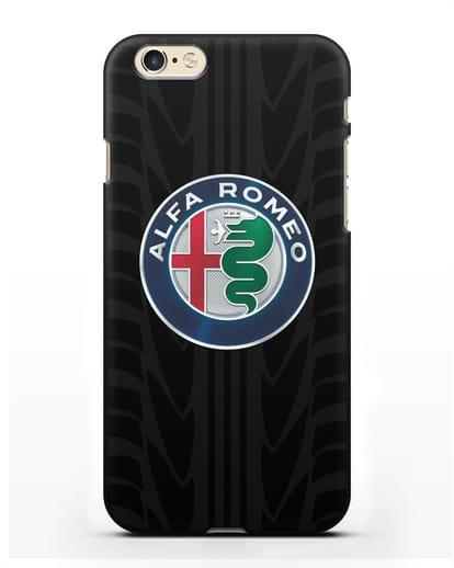 Чехол с эмблемой Alfa Romeo с протектором шин силикон черный для iPhone 6s