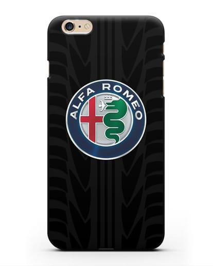 Чехол с эмблемой Alfa Romeo с протектором шин силикон черный для iPhone 6 Plus