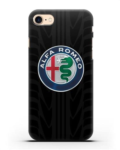 Чехол с эмблемой Alfa Romeo с протектором шин силикон черный для iPhone 8