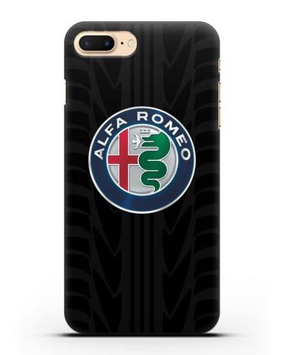 Чехол с эмблемой Alfa Romeo с протектором шин силикон черный для iPhone 7 Plus