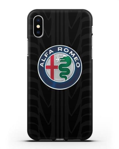 Чехол с эмблемой Alfa Romeo с протектором шин силикон черный для iPhone X