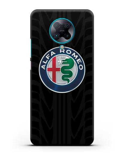 Чехол с эмблемой Alfa Romeo с протектором шин силикон черный для Xiaomi Poco F2 Pro