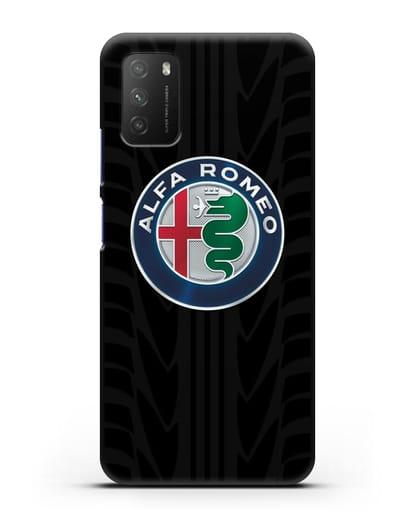 Чехол с эмблемой Alfa Romeo с протектором шин силикон черный для Xiaomi Poco M3