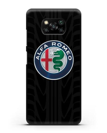 Чехол с эмблемой Alfa Romeo с протектором шин силикон черный для Xiaomi Poco X3