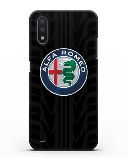 Чехол с эмблемой Alfa Romeo с протектором шин силикон черный для Samsung Galaxy A01 [SM-A015F]