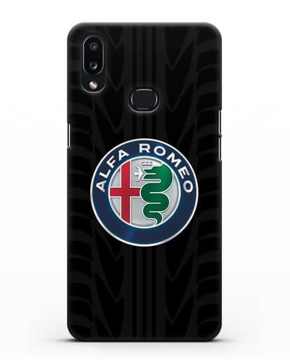 Чехол с эмблемой Alfa Romeo с протектором шин силикон черный для Samsung Galaxy A10s [SM-F107F]