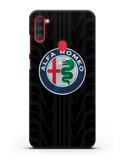 Чехол с эмблемой Alfa Romeo с протектором шин силикон черный для Samsung Galaxy A11 [SM-A115F]
