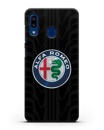 Чехол с эмблемой Alfa Romeo с протектором шин силикон черный для Samsung Galaxy A20 [SM-A205FN]