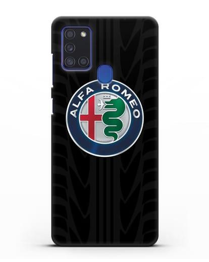 Чехол с эмблемой Alfa Romeo с протектором шин силикон черный для Samsung Galaxy A21s [SM-A217F]