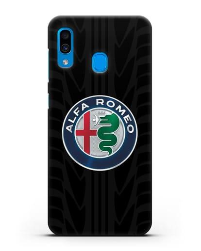 Чехол с эмблемой Alfa Romeo с протектором шин силикон черный для Samsung Galaxy A30 [SM-A305FN]