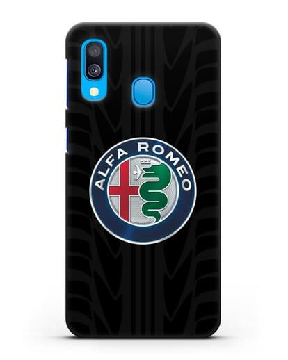 Чехол с эмблемой Alfa Romeo с протектором шин силикон черный для Samsung Galaxy A40 [SM-A405F]