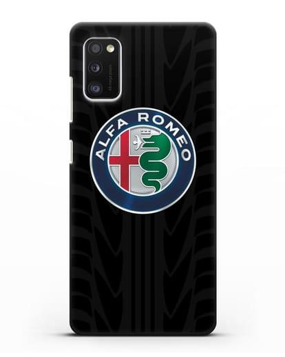 Чехол с эмблемой Alfa Romeo с протектором шин силикон черный для Samsung Galaxy A41 [SM-A415F]
