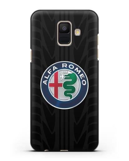 Чехол с эмблемой Alfa Romeo с протектором шин силикон черный для Samsung Galaxy A6 2018 [SM-A600F]