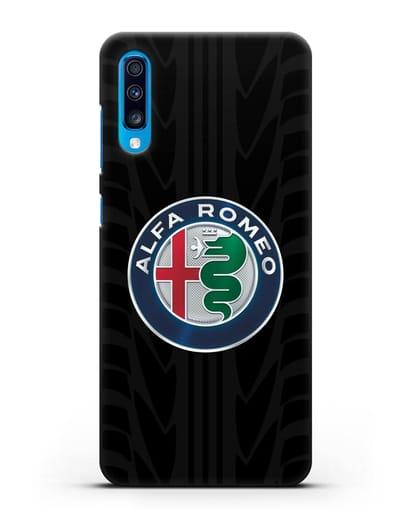 Чехол с эмблемой Alfa Romeo с протектором шин силикон черный для Samsung Galaxy A70 [SM-A705F]
