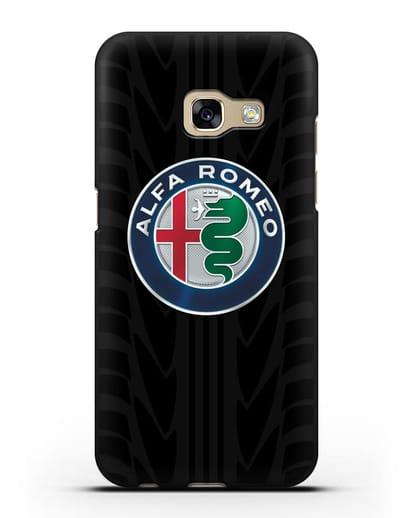 Чехол с эмблемой Alfa Romeo с протектором шин силикон черный для Samsung Galaxy A7 2017 [SM-A720F]
