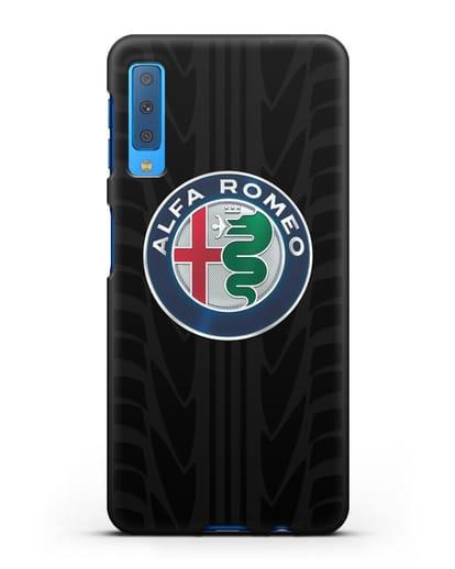 Чехол с эмблемой Alfa Romeo с протектором шин силикон черный для Samsung Galaxy A7 2018 [SM-A750F]
