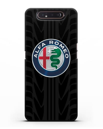 Чехол с эмблемой Alfa Romeo с протектором шин силикон черный для Samsung Galaxy A80 [SM-A805F]