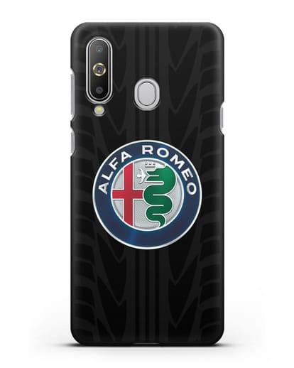 Чехол с эмблемой Alfa Romeo с протектором шин силикон черный для Samsung Galaxy A8s [SM-G8870]