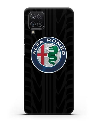 Чехол с эмблемой Alfa Romeo с протектором шин силикон черный для Samsung Galaxy A12 [SM-A125F]