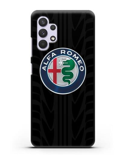 Чехол с эмблемой Alfa Romeo с протектором шин силикон черный для Samsung Galaxy A32 4G [SM-A325F]