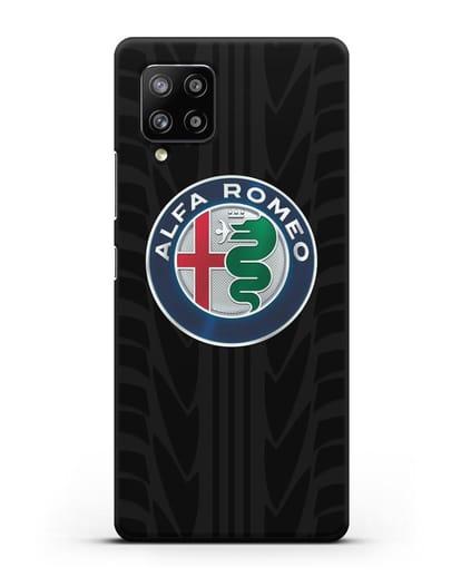 Чехол с эмблемой Alfa Romeo с протектором шин силикон черный для Samsung Galaxy A42 [SM-A426B]